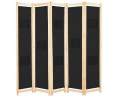 vidaXL Biombo divisor de 5 paneles de tela negro 200x170x4 cm