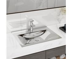 vidaXL Lavabo con rebosadero 60x46x16 cm cerámica plateado