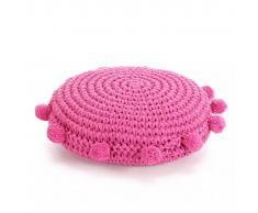 vidaXL Cojín redondo de suelo algodón tejido 45 cm rosa