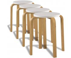 vidaXL Taburetes apilables madera curvada blanco