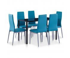 vidaXL Conjunto de mesa y sillas de comedor 7 piezas azul
