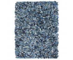 vidaXL Alfombra peluda de tela vaquera 190x280 cm azul