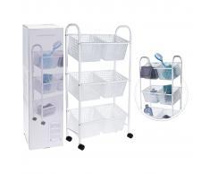 Bathroom Solutions Carrito para el baño con 6 cestas