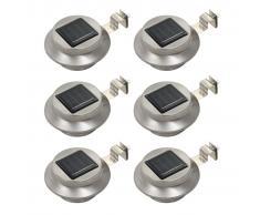 vidaXL Lámparas solares LED de exterior 6 uds redondas 12 cm blanco