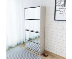 vidaXL Mueble zapatero 4 cajones con espejo blanco 63x17x134 cm