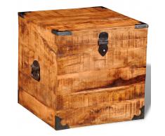 vidaXL Baúl cuadrado para almacenaje de madera maciza mango