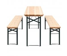 vidaXL Set de mesa y bancos plegables 3 piezas madera pino