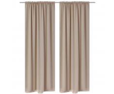 vidaXL 2 cortinas oscuras con jaretas blanco crema blackout 135 x 245 cm