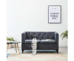 vidaXL Sofá Chesterfield de 2 plazas con tapizado de tela gris