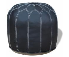 vidaXL Puf de cuero real 160x28x50 cm redondo gris
