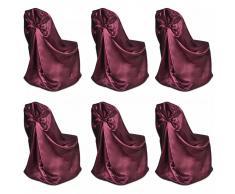 vidaXL Set de 6 Fundas rojas burdeos para sillas, banquetes y bodas