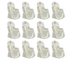 vidaXL Funda de silla para banquete de boda 12 unidades crema