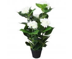 vidaXL Planta artificial hortensia con macetero 60 cm blanca