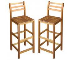 vidaXL Taburetes de cocina 2 unidades madera maciza acacia
