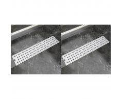 vidaXL Desagüe lineal ducha 2 uds línea 530x140 mm acero inoxidable