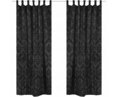 vidaXL 2 cortinas negras barrocas de tafetán con lengüetas, 140 x 245 cm