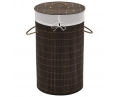 vidaXL cesto de colada cilíndrico bambú color marrón