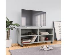 vidaXL Mueble para TV con ruedas aglomerado gris hormigón 90x35x35 cm