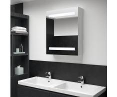 vidaXL Mueble de cuarto de baño con espejo LED 50x14x60 cm