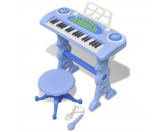 vidaXL Piano de juguete 37 teclas con taburete/micrófono para niños (Azul)
