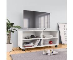 vidaXL Mueble para TV con ruedas aglomerado blanco 90x35x35 cm
