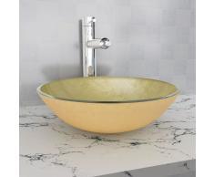 vidaXL Lavabo de vidrio templado 42 cm dorado