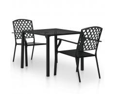 vidaXL Mesa y sillas bistró de jardín 3 piezas acero negro