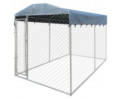 vidaXL Perrera resistente para exteriores con toldo, 200 x 400 235 cm