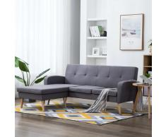 vidaXL Sofá con forma de L tapizado de tela gris claro 186x136x79 cm