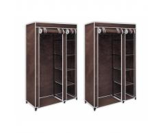 vidaXL Armario de tela plegable marrón, 2 unidades