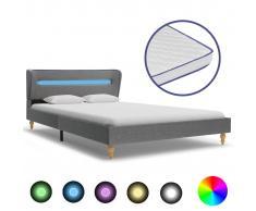 vidaXL Cama con LED y colchón viscoelástico tela gris claro 140x200 cm