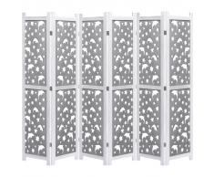vidaXL Biombo de 6 paneles de madera maciza gris 210x165 cm