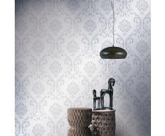 vidaXL Rollos de papel pintado no tejido 2 uds blanco adornos 0,53x10m