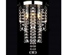 vidaXL Lámpara blanca colgante de metal con adornos de cristal
