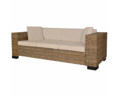 vidaXL Conjunto de sofá 3 plazas ratán auténtico