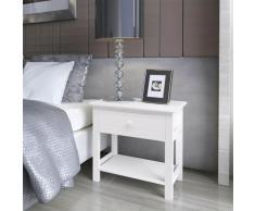 vidaXL Mesita de noche de madera 2 piezas blanco