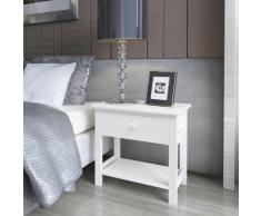 vidaXL Mesita de noche madera 2 piezas blanco