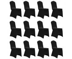 vidaXL Funda de silla elástica 12 unidades negra