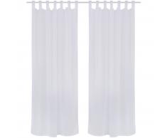 vidaXL 2 cortinas blancas transparentes imitación de lino, 135 x 245 cm