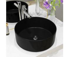 vidaXL Lavabo redondo de cerámica negro 40x15 cm