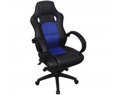 vidaXL Silla de Oficina Ejecutiva de Carreras Azul Cuero Sintético