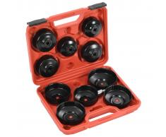 vidaXL Herramientas para cambio de filtro de aceite tipo copa 11 pzas