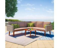 vidaXL Conjunto de sofás jardín 13 piezas poli ratán gris