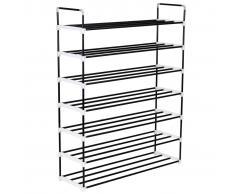 vidaXL Zapatero con 7 estantes metal y plástico negro