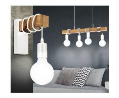 EGLO Lámpara colgante Townshend 4 bombillas madera blanco y beige