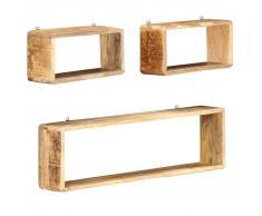 vidaXL Juego de estantes cubo de pared 3 piezas madera maciza de mango