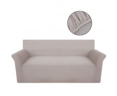 vidaXL funda elástica de tela acanalada color beige para sofá
