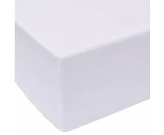 vidaXL Sábana bajera 200x220 cm algodón blanca 2 unidades