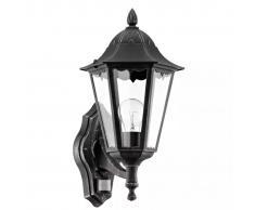 EGLO Lámpara de pared exterior con sensor Navedo 60 W negra 93458