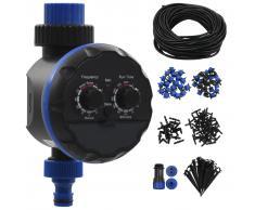 vidaXL Kit de riego por goteo automático jardín 142 pzas temporizador